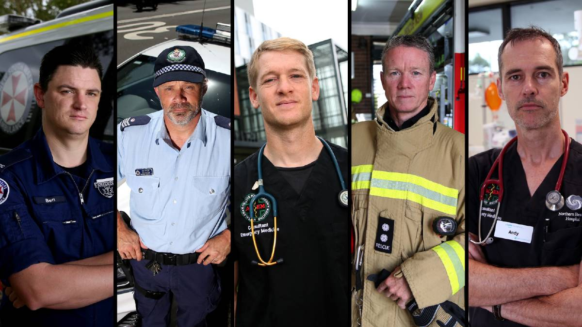 ON DUTY: Paramedic Ben Tory, Sergeant Matt Paterson, Dr Josh Holden, Station Officer Lachlan Arnold and Dr Andy Ratchford. Pictures: Geoff Jones